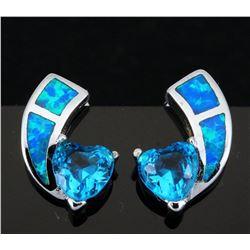 Stunning Fire Opal & Swiss Topaz Heart Earring
