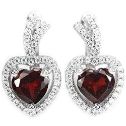 NATURAL DARK ORANGE RED GARNET Heart Earrings