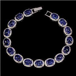 Natural Top Rich Blue Violet Tanzanite 110 Ct Bracelet