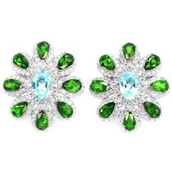 Natural SKY BLUE TOPAZ CHROME DIOPSIDE Earrings