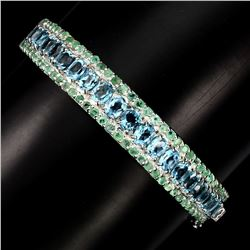 Natural Swiss Blue Topaz 5x4 MM & Emerald Bangle