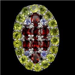 Natural Garnet Peridot Tanzanite Ring