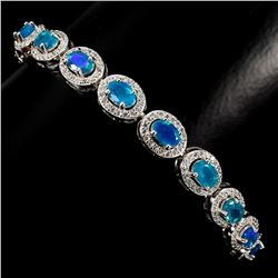 Natural 6x4mm Top Rich Blue Fire Opal Bracelet