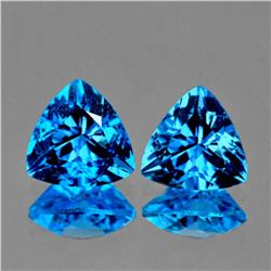 Natural Swiss Blue Topaz Pair 6.45 Carats