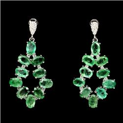 Natural Columbian Emerald 35 Carats Earrings