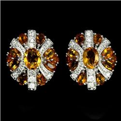 Natural  Rich Yellow Citrine 44 Carats Earrings