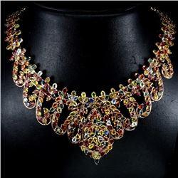 Natural Multi Color Fancy Sapphire Necklace