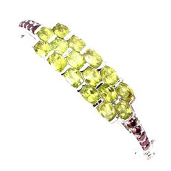 Natural Green Peridot Rhodolite Garnet 74.86 Cts Bangle