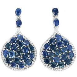 Natural Oval BLUE SAPPHIRE 50 Ct Earrings