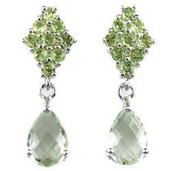 NATURAL GREEN AMETHYST & GREEN PERIDOT Earrings