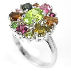 NATURAL GREEN PERIDOT & MULTI COLOR TOURMALINE Ring