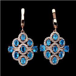 Natural Rare Brazil Neon Blue Apatite Earrings