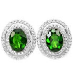 NATURAL GREEN CHROME DIOPSIDE 8X6 MM earrings