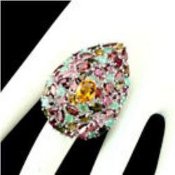 Natural 9x7mm Citrine Emerald Garnet Tourmaline Ring