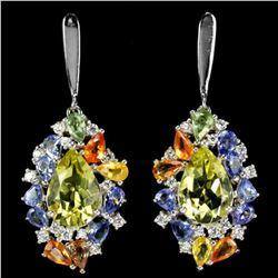 Natural 12X8 MM. AAA QUARTZ TANZANITE SAPPHIRE Earrings