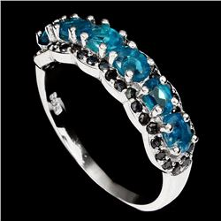 Natural Neon Blue Apatite 7 Black Spinel Ring