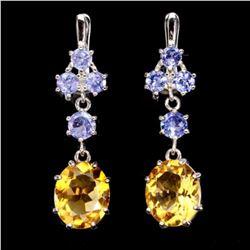 Natural Yellow Citrine Blue Tanzanite Earrings