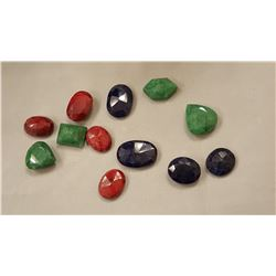 HUGE 185 CTTW  CERTIFIED LOT RUBIES, EMERALDS,