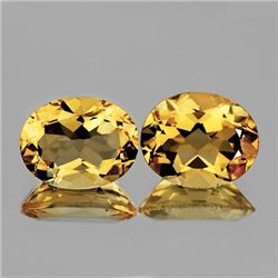 Natural Golden Yellow Citrine Pair 11x9 MM - FL