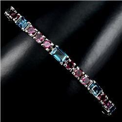 Natural London Blue Topaz & Rhodolite Bracelet