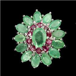 Natural Columbian  Emerald & Ruby Ring