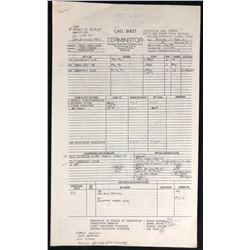 The Terminator (1984) - Original Call Sheet - 3-22-84