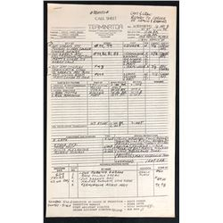 The Terminator (1984) - Original Call Sheet - 5-16-84