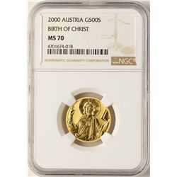 2000 Austria 500 Schillings Gold Coin NGC MS70