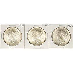 Lot of (3) 1923 $1 Peace Silver Dollar Coins