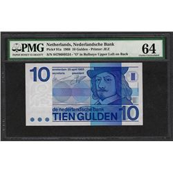 1968 Nederlandsche Bank Netherland 10 Gulden Note Pick 91a PMG Choice Uncirculat