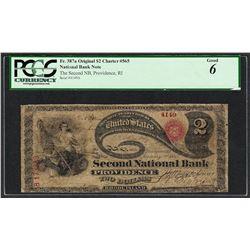 Original Lazy Deuce $2 Second NB of Providence, RI CH#4149 National Note PCGS Go