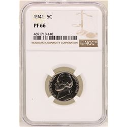 1941 Jefferson Nickel Proof Coin NGC PF66