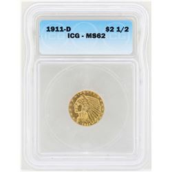 1911-D $2 1/2 Indian Head Quarter Eagle Gold Coin ICG MS62