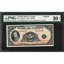 1935 $5 Bank of Canada English BC-5 PMG Very Fine 30EPQ