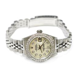 Rolex Ladies Datejust Stainless Steel 26mm Mother of Pearl Diamond Dial Watch