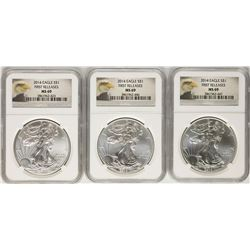 Lot of (3) 2014 $1 American Silver Eagle Coins NGC MS69 First Releases