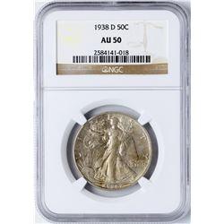 1938-D Walking Liberty Half Dollar Coin NGC AU50