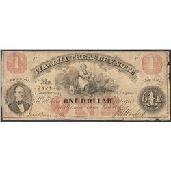 1862 $1 Virginia Treasury Obsolete Note