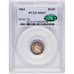 1844 Seated Liberty Half Dime Coin Arrows PCGS MS67 CAC Amazing Toning