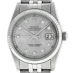 Rolex Men's Stainless Steel 36MM Slate Grey Diamond Datejust Wristwatch