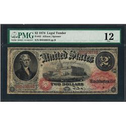 1874 $2 Legal Tender Note Fr.43 PMG Fine 12