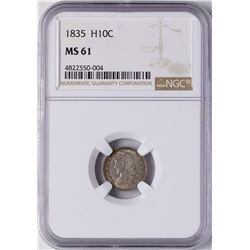 1835 Seated Liberty Half Dime Coin NGC MS61