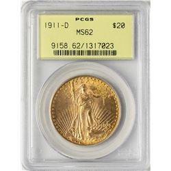 1911-D $20 St. Gaudens Double Eagle Gold Coin PCGS MS62 Old Green Holder