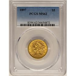 1897 $5 Liberty Head Half Eagle Gold Coin PCGS MS62