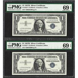 (2) Consecutive 1957B $1 Silver Certificate STAR Notes PMG Superb Gem Unc. 69PPQ