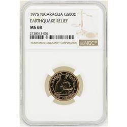 1975 Nicaragua 500 Cordobas Gold Coin NGC MS68