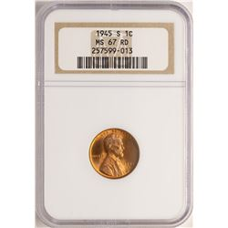 1945-S Lincoln Wheat Cent Coin NGC MS67RD