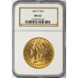 1897-S $20 Liberty Head Double Eagle Gold Coin NGC MS62