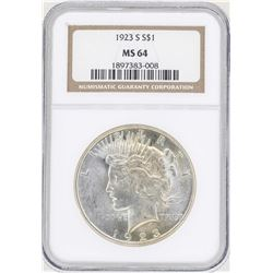 1923-S $1 Peace Silver Dollar Coin NGC MS64