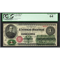 1862 $1 Legal Tender Note Fr.16c PCGS Very Choice New 64